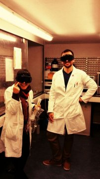 Safety first! My colleague and I also putting on proper UV-safety eyewear before establishing the Xenon lamp.