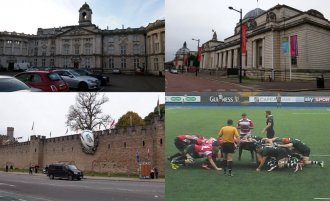 "Top: The chemistry division of Cardiff University (left) while the National Museum Cardiff (right). Bottom: Rugby ball ""smashed"" into the wall of Cardiff Castle as a result of the Rugby World Cup 2016 (remaining) and two teams Cardiff Blues (in purple) and Nottingham playing against both within the British & Irish Cup."